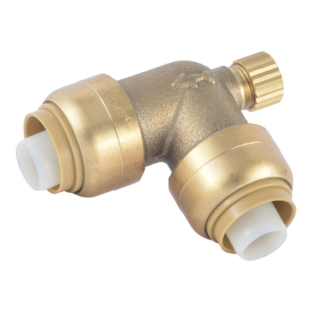 SharkBite 1/2 in. Push-to-Connect Brass 90-Degree Elbow Fitting with Drain