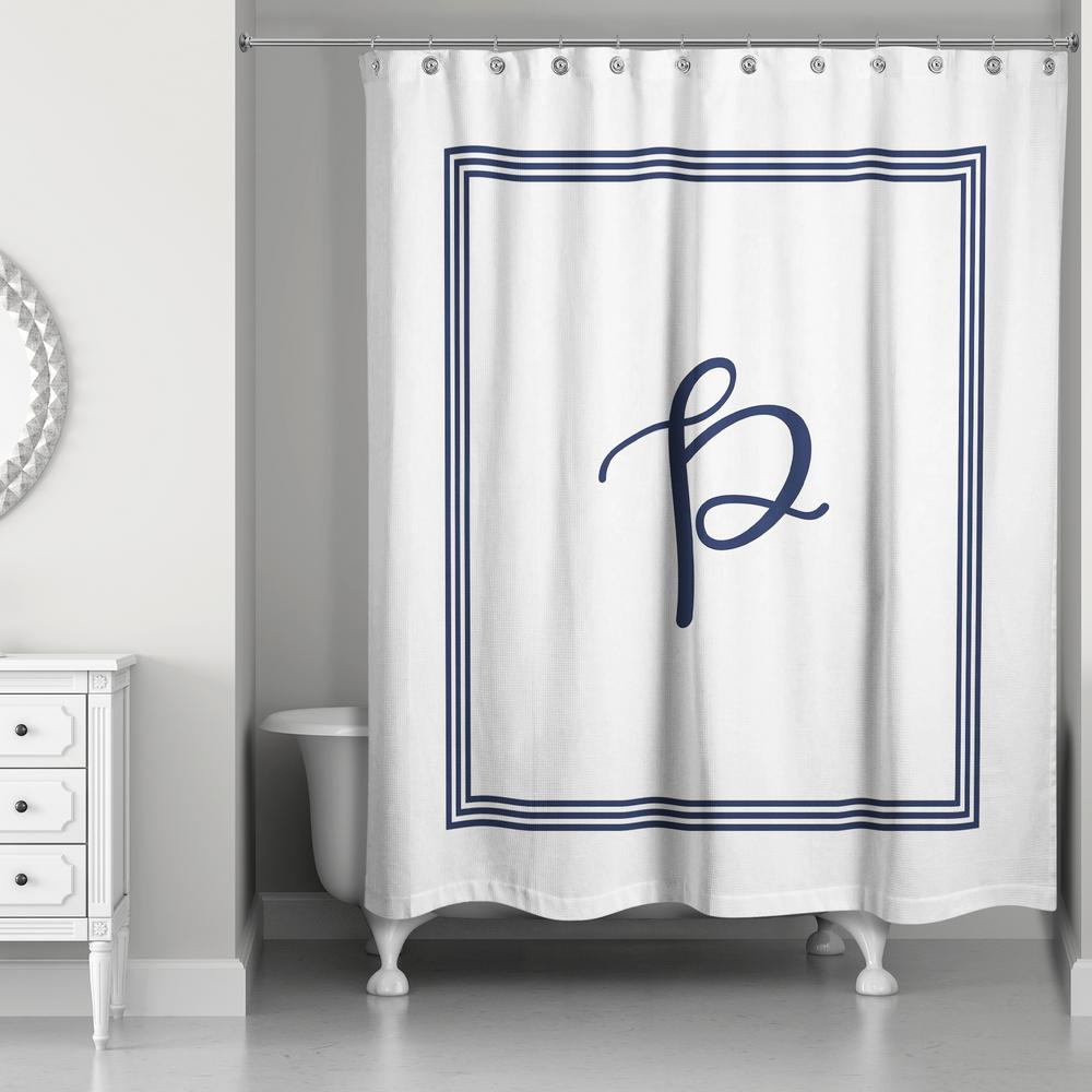 L Navy Blue And White Letter P Monogrammed Fabric Shower Curtain