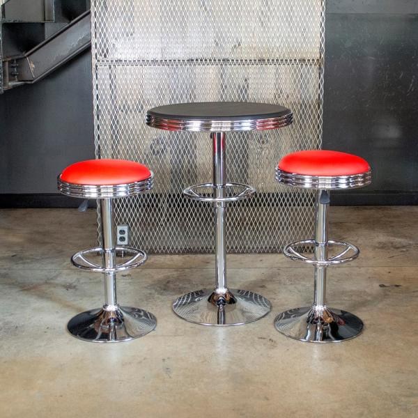Amerihome 3 Piece Vintage Style Soda Shop Chrome Bar Table Set With Red Vinyl Chairs And Black Table 804362 The Home Depot