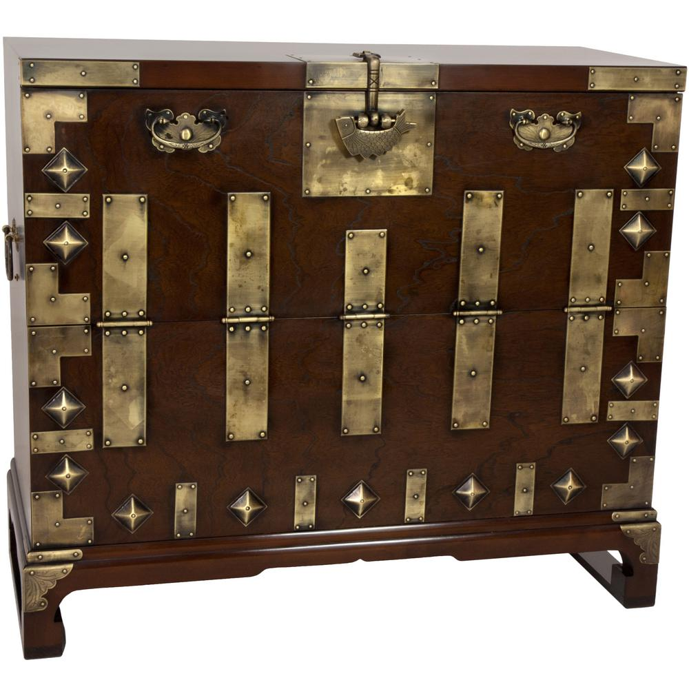 Wondrous Oriental Furniture Brown Trunk Krn H 8 The Home Depot Gmtry Best Dining Table And Chair Ideas Images Gmtryco