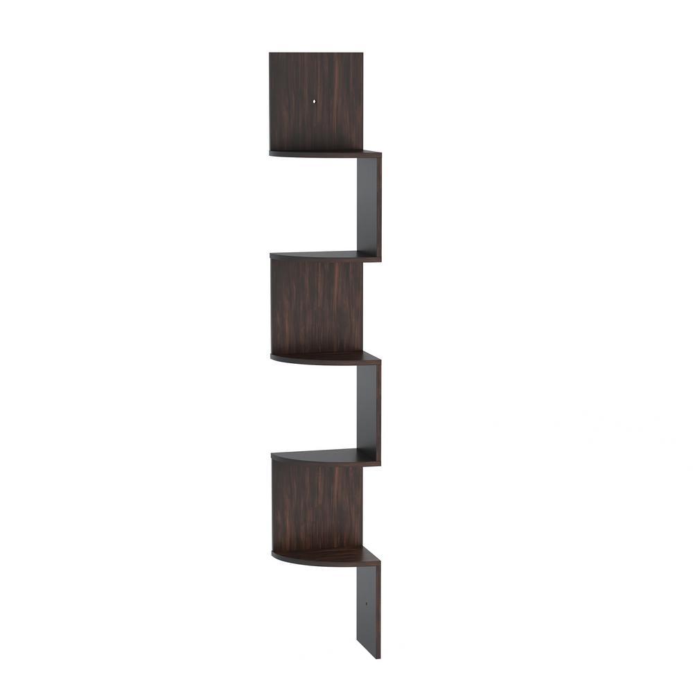 5-Tier Decorative Floating Corner Wall Shelves in Dark Brown
