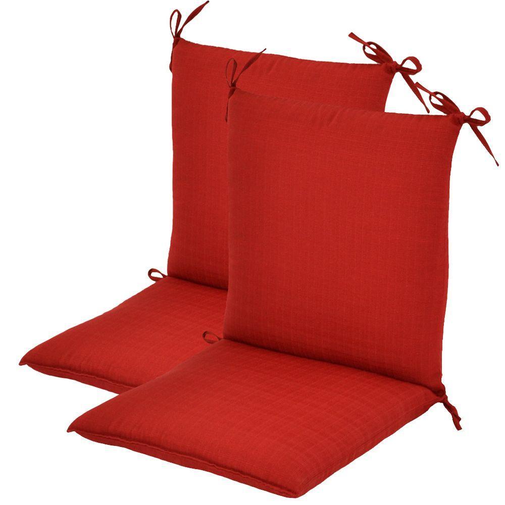 Hampton Bay Geranium Textured Mid Back Outdoor Chair Cushion (2-Pack)