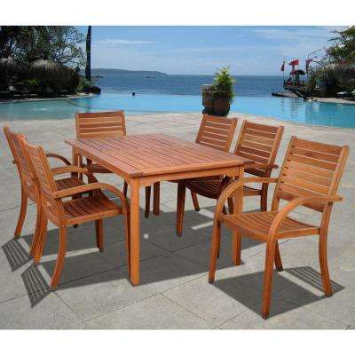 Arizona Eucalyptus Wood 7-Piece Rectangular Patio Dining Set