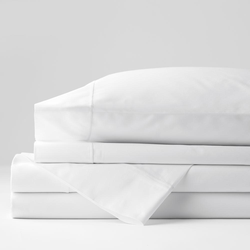Classic Solid 4-Piece White 350 Thread Count Cotton Sateen Queen Sheet Set