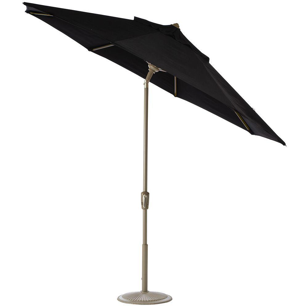 Home Decorators Collection 6 ft. Auto-Tilt Patio Umbrella in Black Sunbrella with Champagne Frame