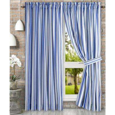 Mason 90 in. W x 63 in. L Stripe Poly/Cotton Tailored Pair Curtains with Ties in Blue