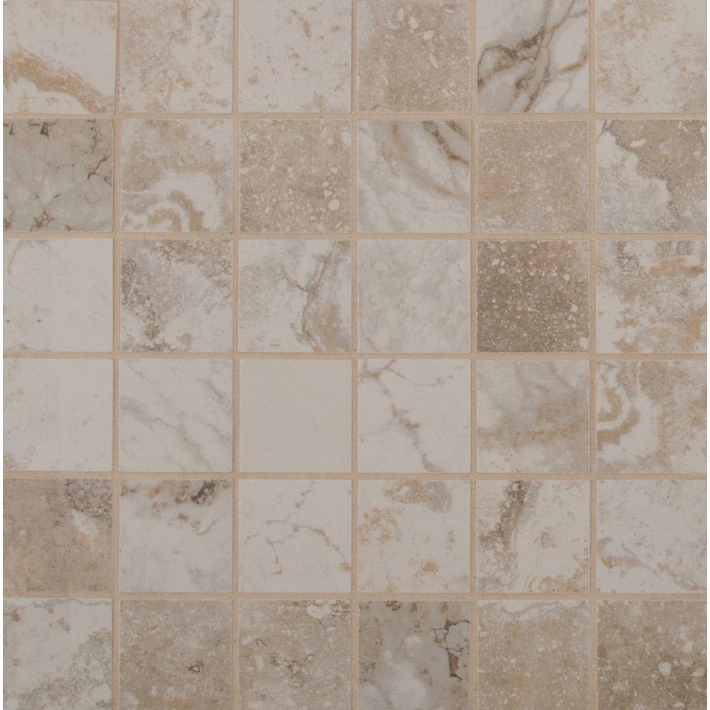 Napa Beige 12 in. x 12 in. x 8mm Glazed Ceramic Mesh-Mounted Mosaic Tile (11 sq. ft. / case)
