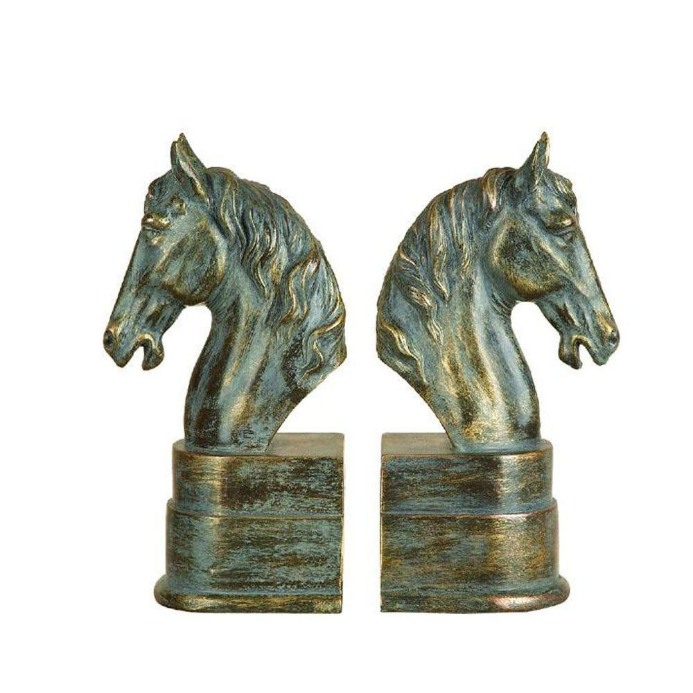 Home Decorators Collection 3 in. W x 9 in. H Horse Head Antique Gold Polystone Bookend (Set of 2)