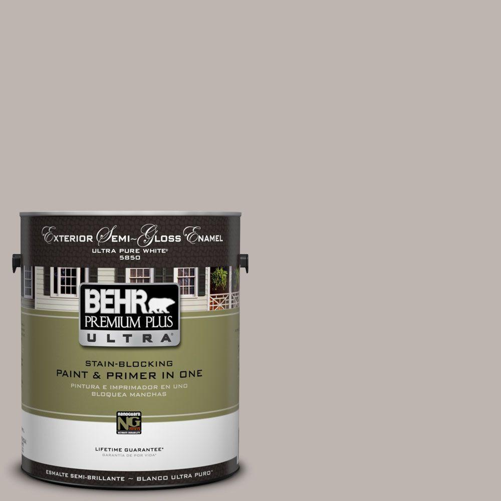 BEHR Premium Plus Ultra 1-Gal. #UL260-10 Graceful Gray Semi-Gloss Enamel Exterior Paint