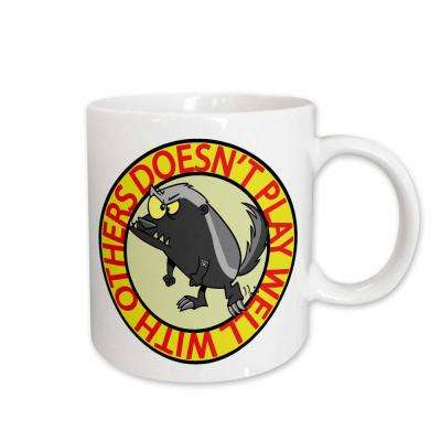 Dooni Designs Random Toons Honey Badger Doesn't Play Well with Others-01 11 oz. White Ceramic Coffee Mug