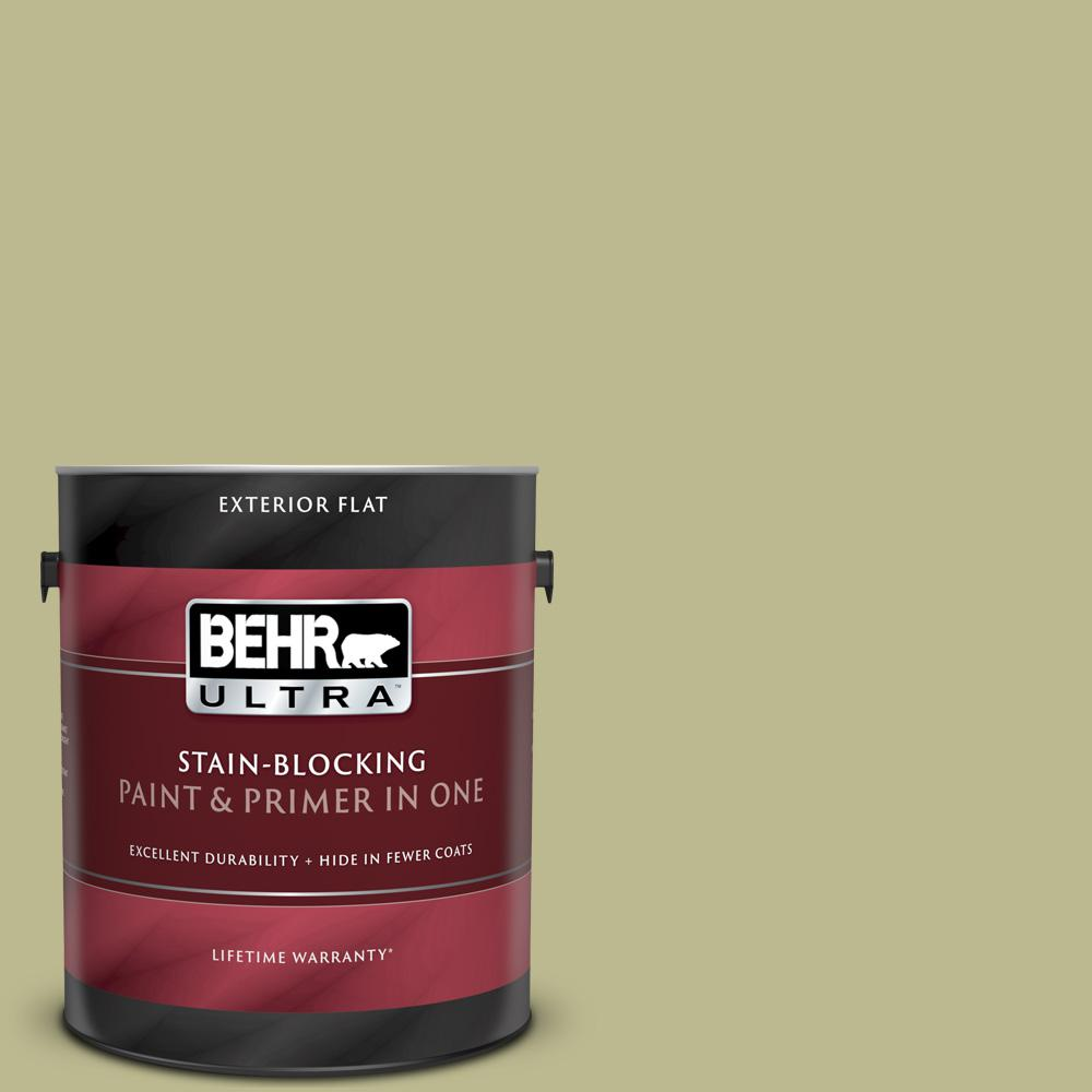 behr ultra 1 gal. #s340-4 back to nature flat exterior paint and primer in  one