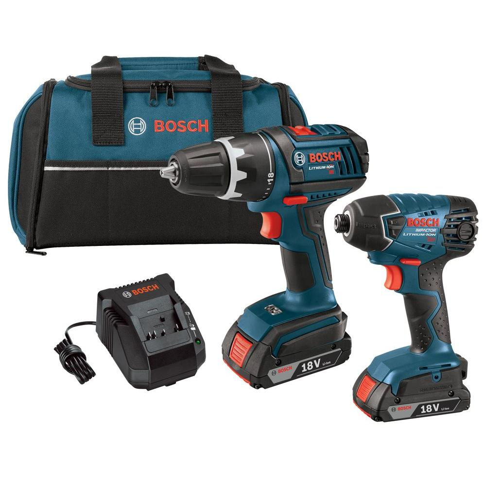Bosch 18 Volt Lithium-Ion Cordless Drill/Driver and Impact Driver Combo Kit with 2.0Ah Battery (2-Tool)