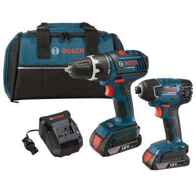 18 Volt Lithium-Ion Cordless Drill/Driver and Impact Driver Combo Kit with 2.0Ah Battery (2-Tool)