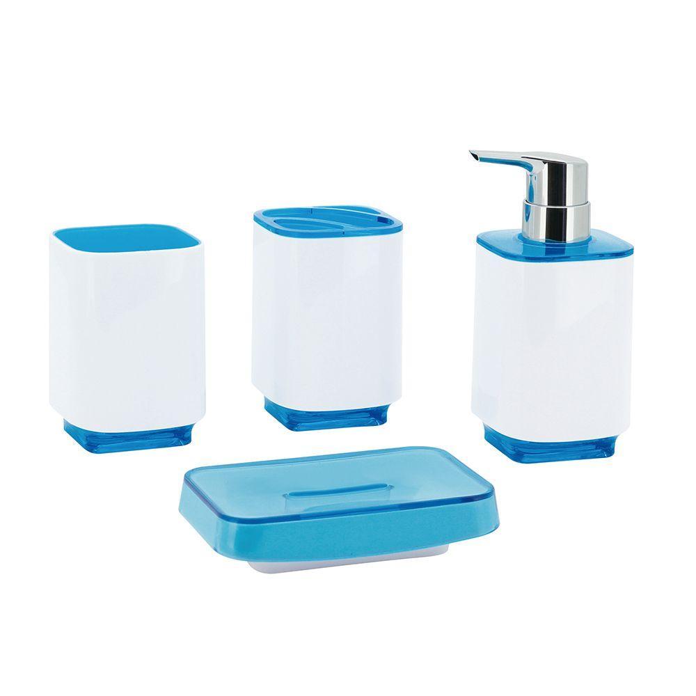 Sea Side 4-Piece Bath Accessory Set in Blue