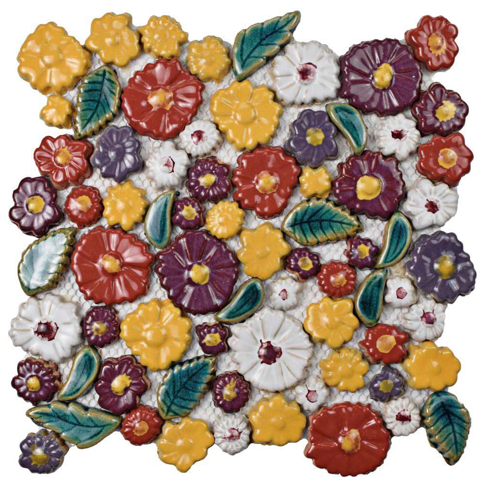 Merola Tile Bouquet Perennial 11-3/4 in. x 11-3/4 in. x 9 mm Ceramic Mosaic Tile