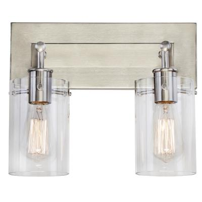Regan 12.75 in. 2-Light Brushed Nickel Vanity Light with Clear Glass Shades