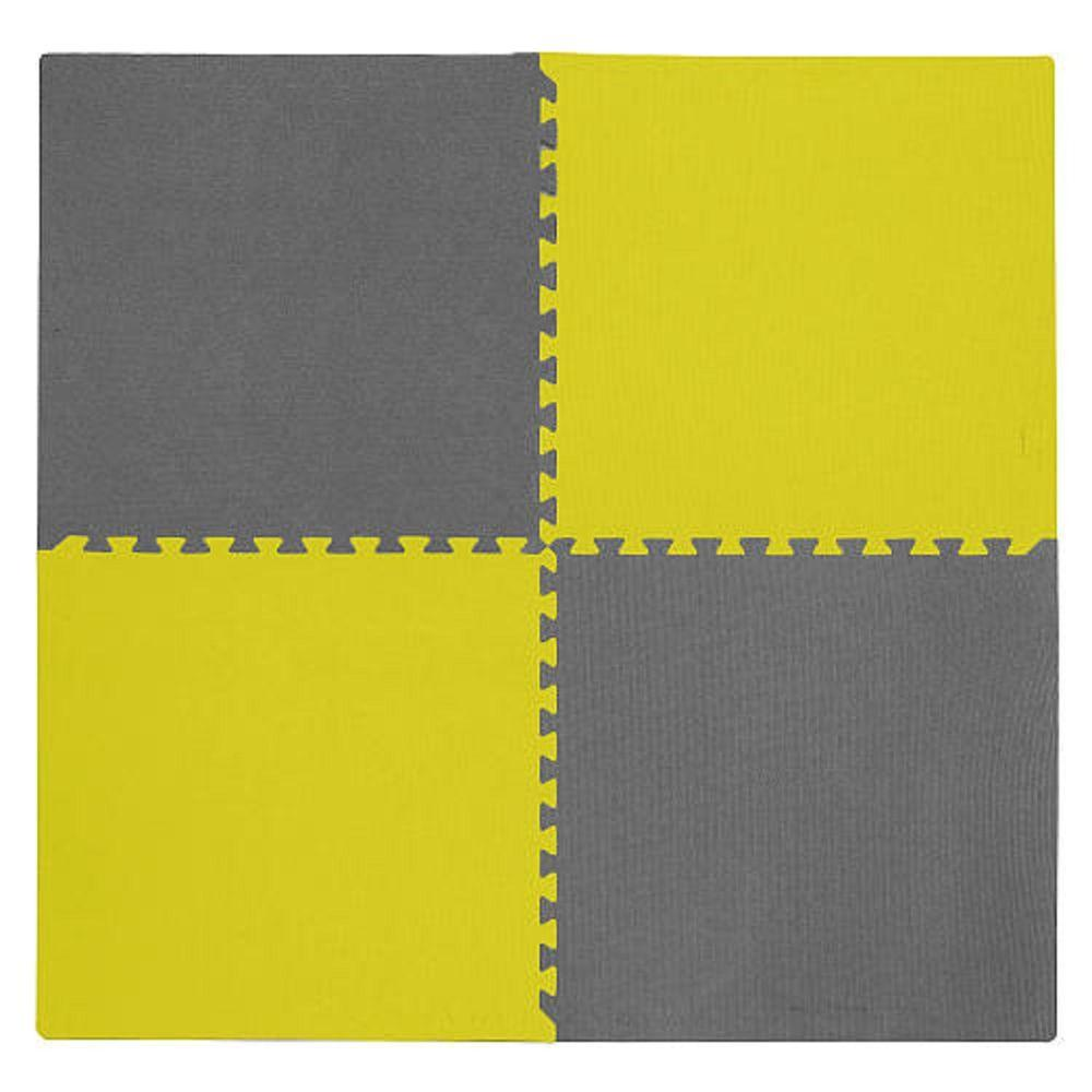 4-Piece Interlocking Yellow/Gray 50 in. x 50 in. EVA Floor Mat