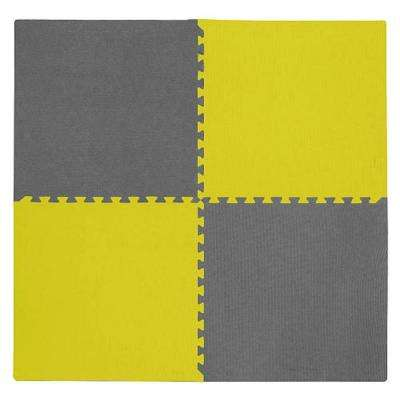 4-Piece Interlocking Yellow/Gray 50 in. x 50 in. EVA Floor Mat Set