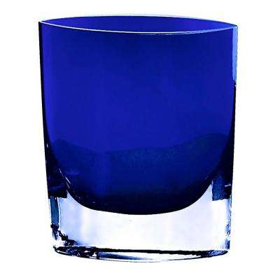 8 in. Samantha Cobalt Blue European Mouth Blown Thick Walled Decorative Vase