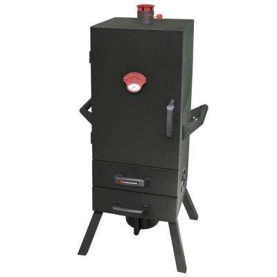 34 in. Vertical Charcoal Smoker with 2 Drawer Access