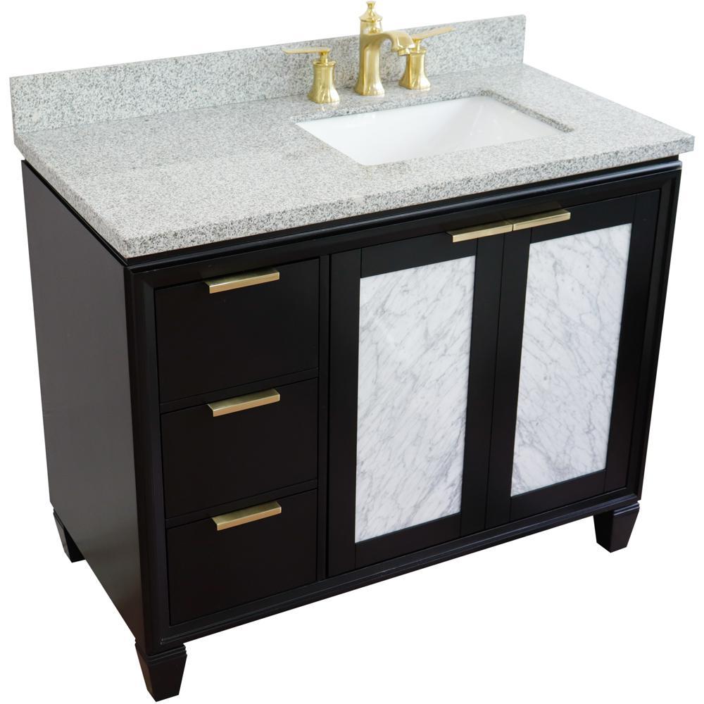 43 in. W x 22 in. D Single Bath Vanity in Black with Granite Vanity Top in Gray with Right White Rectangle Basin