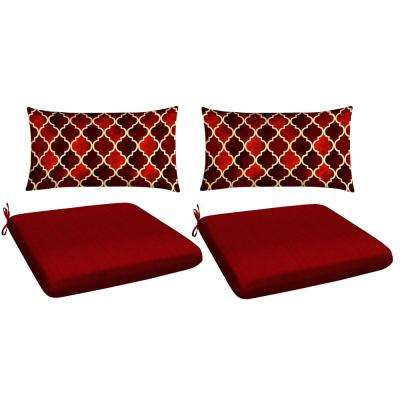 Red 4-Piece Outdoor Mix and Match Dining Chair Cushion Set