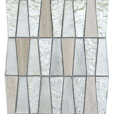 Imagine Panorama Gloss/Matte Mix 10.83 in. x 11.81 in. x 8mm Glass Mesh-Mounted Mosaic Tile