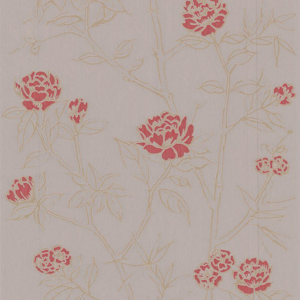 Graham & Brown 56 sq. ft. Hua Red Wallpaper