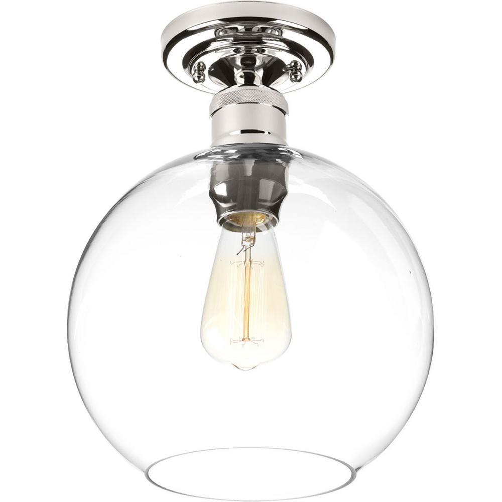 Progress Lighting Hansford Collection 1 Light Polished Nickel Flushmount With Clear Globe Shade