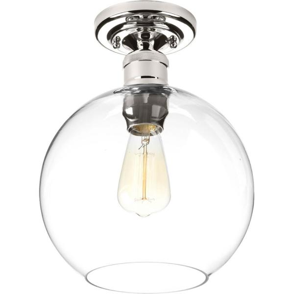 Hansford Collection 1-Light Polished Nickel Flush Mount with Clear Globe Shade
