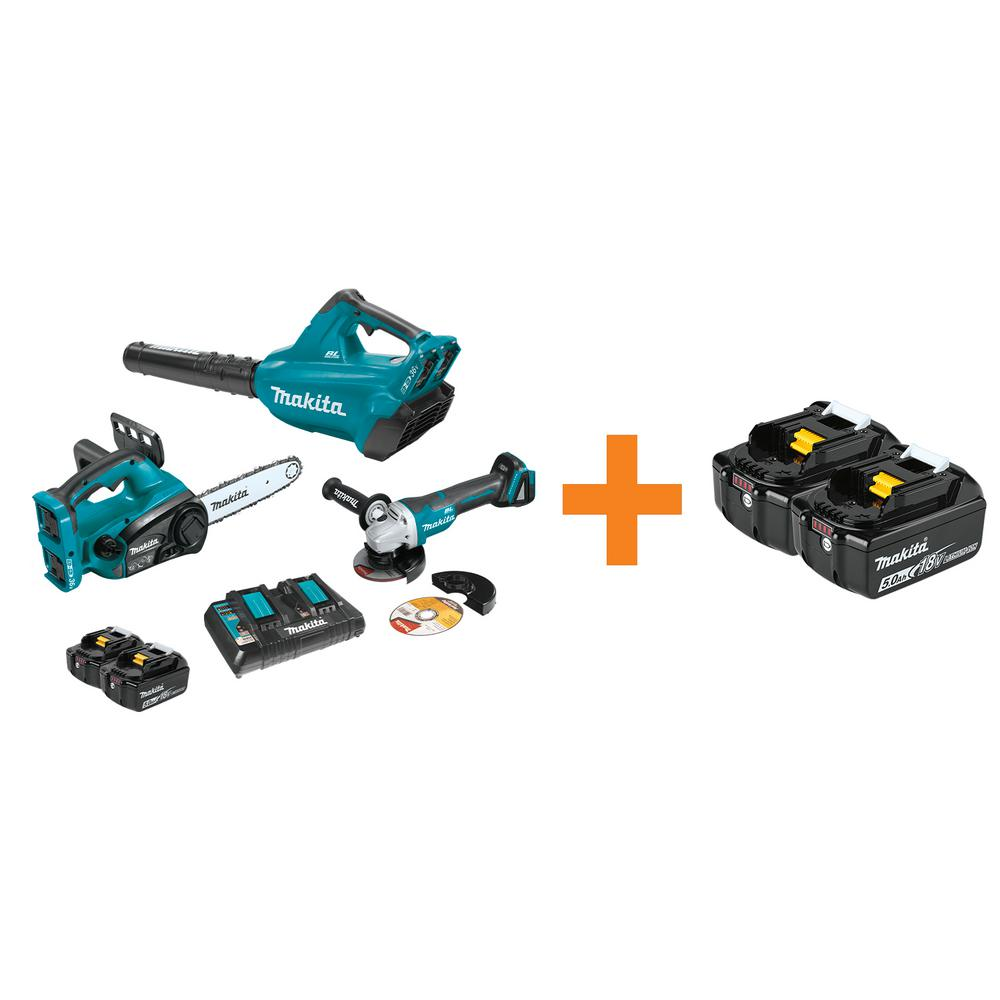 Makita 18-Volt X2 (36-V) LXT Cordless 2-Piece Combo Kit and Brushless Angle Grinder with bonus 18-Volt 5.0 Ah Battery (2-Pack)