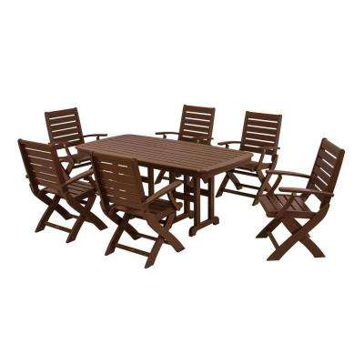 Signature Mahogany 7-Piece Plastic Outdoor Patio Dining Set