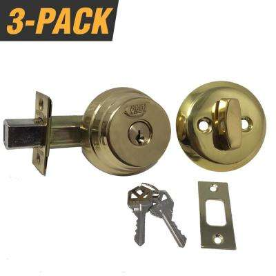 Brass Arrow Style Door Lock Single Cylinder Deadbolt with 2-3/8 in. Latch and 6 KW1 Keys (3-Pack, Keyed Alike)