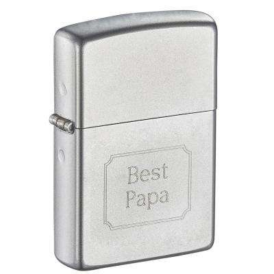 Zippo Satin Finish Chrome Father's Day Engraved Lighter