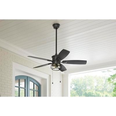 Aldenshire 52 in. LED Natural Iron Ceiling Fan with Light and Remote Control works with Google Assistant and Alexa