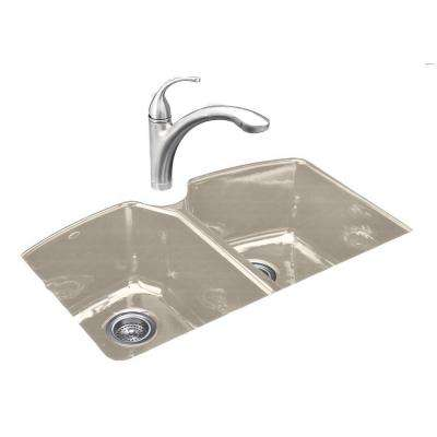 Tanager Undermount Cast Iron 33 in. 3-Hole Double Bowl Kitchen Sink in Cane Sugar