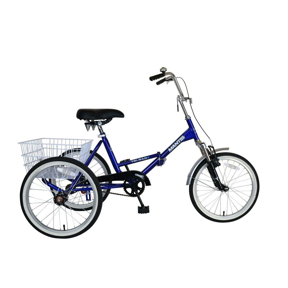 Mantis Tri-Rad Folding Adult Tricycle, 20 in. Wheels, 16 ...