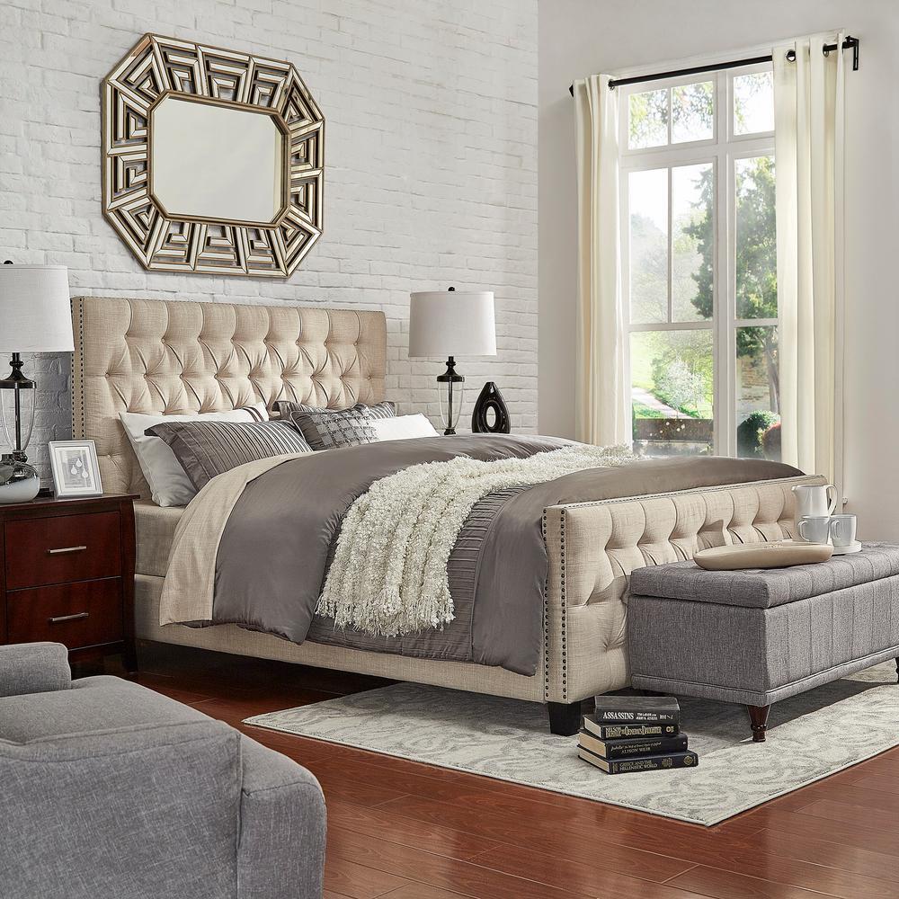 Tufted Bed Intended Homesullivan Lincoln Park Button Tufted Beige Queen Standard Bed