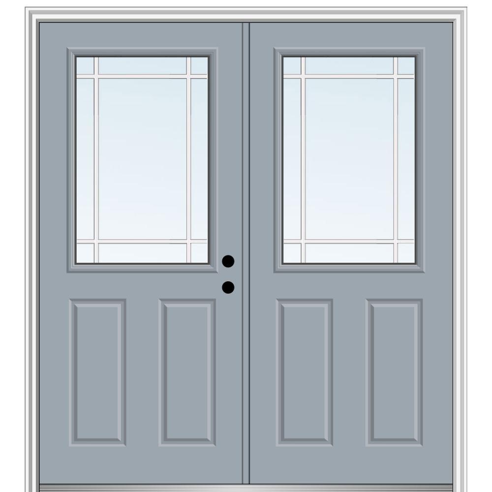 64 in. x 80 in. Prairie Internal Muntins Left-Hand Inswing 1/2-Lite Clear 2-Panel Painted Steel Prehung Front Door