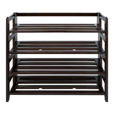 9-Pair Espresso 4-Shelf Folding Shoe Organizer