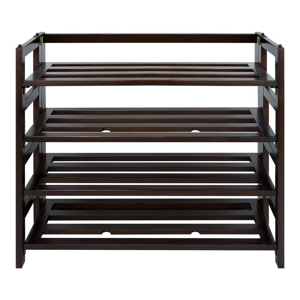 Casual Home 9 Pair Espresso 4 Shelf Folding Shoe Organizer