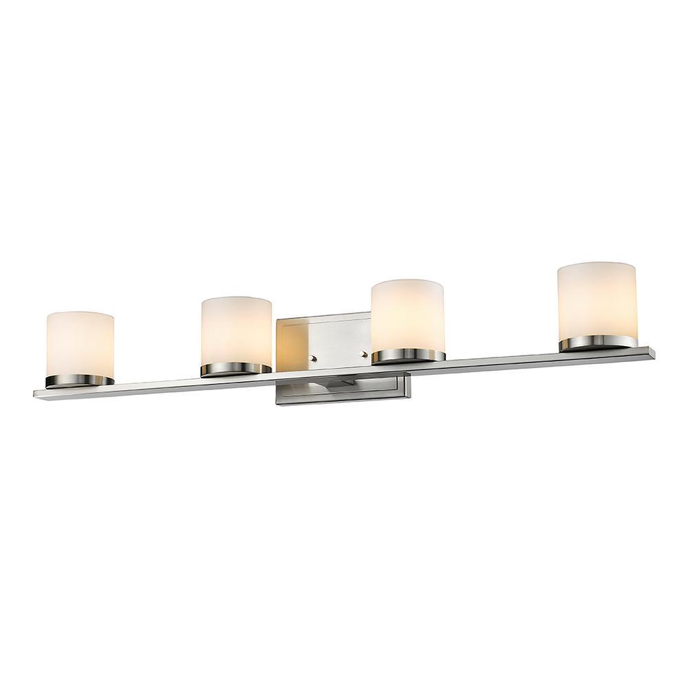 Led Bathroom Lighting Home Depot: Filament Design 4-Light Brushed Nickel LED Bath Light-HD