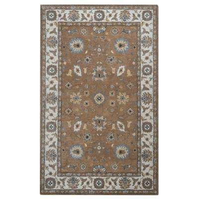 Valintino Brown Border Hand Tufted Wool 9 ft. x 12 ft. Area Rug