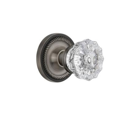 Nostalgic Warehouse Classic Rosette Single Dummy Crystal Glass Door Knob In Antique Pewter 704732 The Home Depot