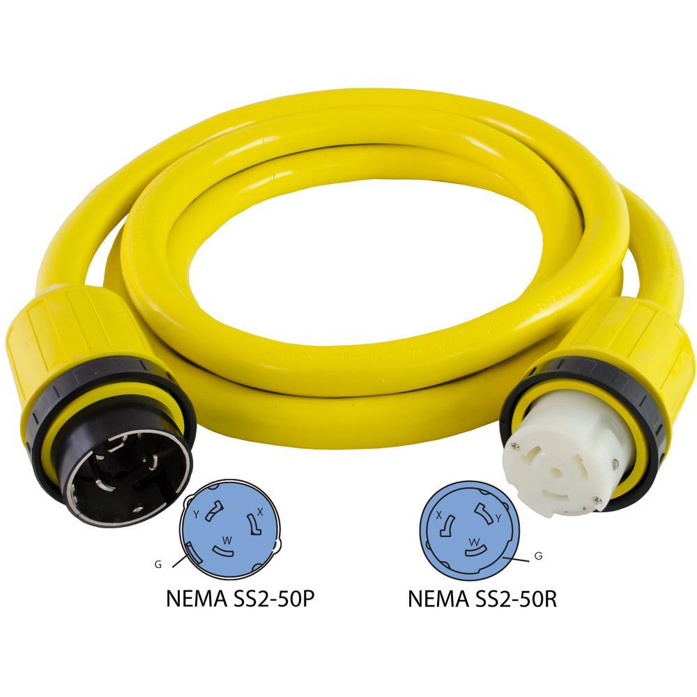 12 ft. 6/4 50 Amp 125-Volt/250-Volt Marine Shore Power 4 Wire Extension Cord