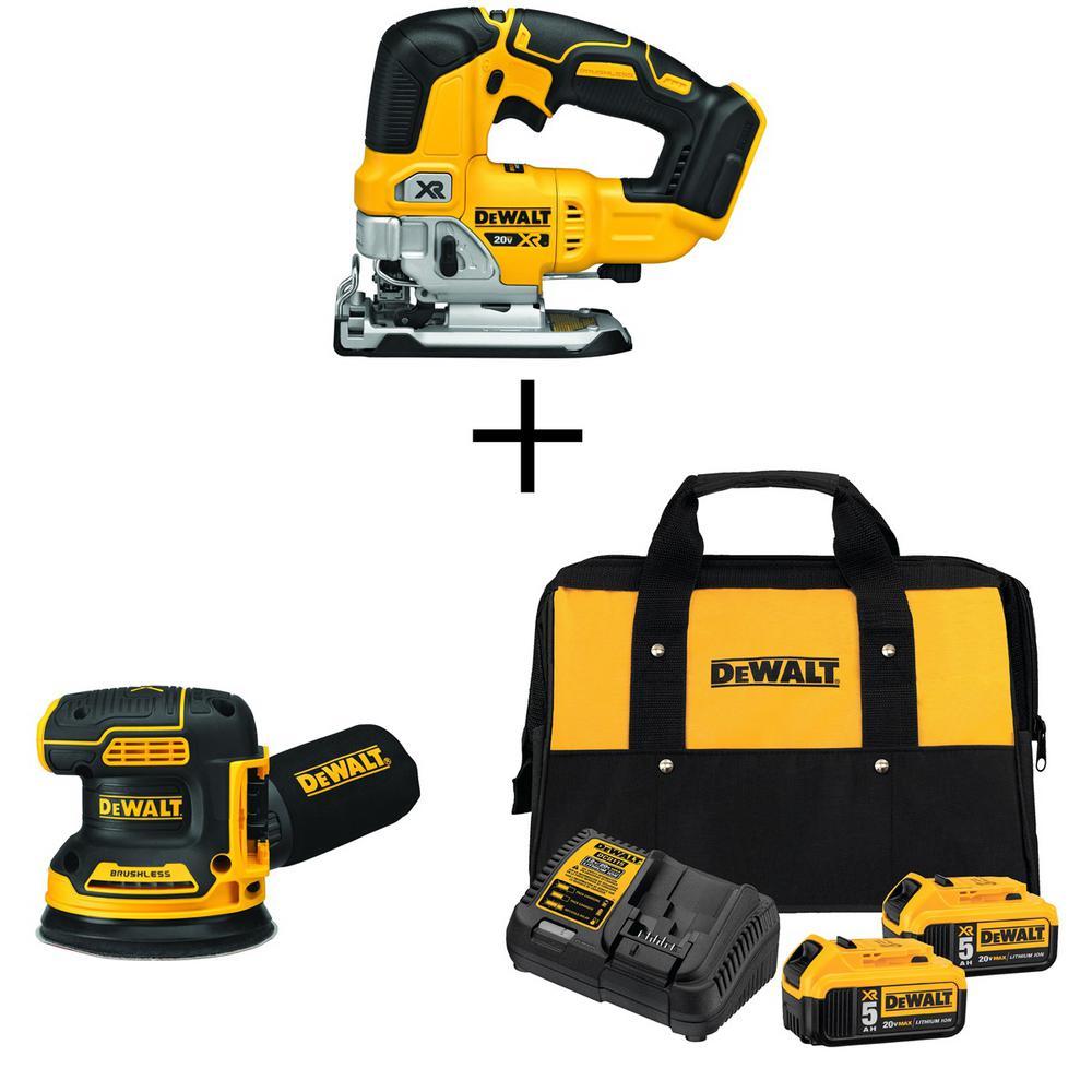 DEWALT 20-Volt MAX Li-Ion Cordless Brushless Jigsaw(Tool-Only) w/ Bonus 5 in. Sander(Tool-Only), Battery 5Ah(2), Charger & Bag