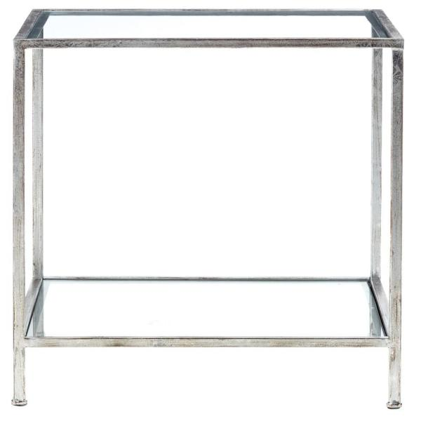 Bella Aged Silver Square Glass End Table
