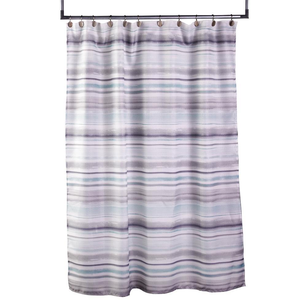 Water Stripe 72 in. Aqua Shower Curtain