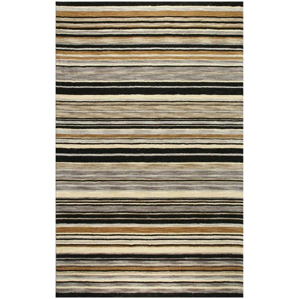 BASHIAN Contempo Collection Stripes Black 2 ft. 6 in. x 8 ft. Area Rug