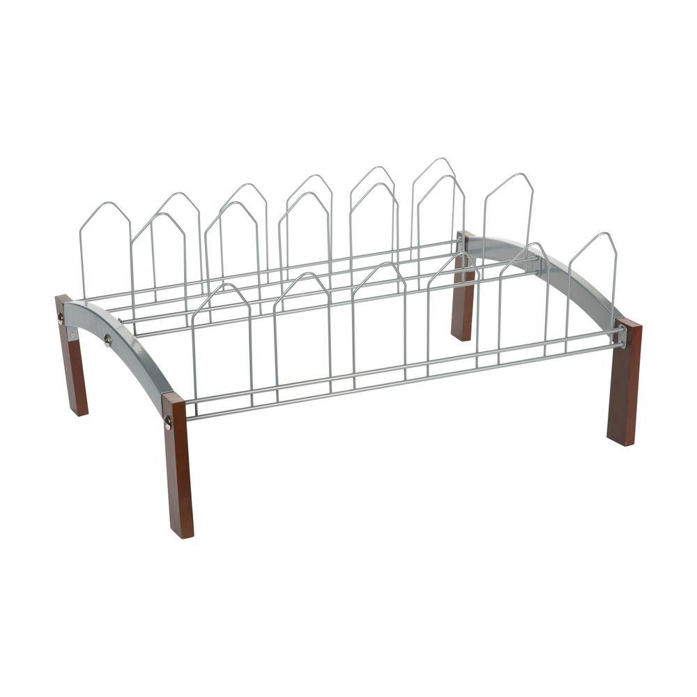 11.75 in. H x 16.13 in. W 9-Pair Chrome Metal Shoe Rack Wood Frame Freestanding